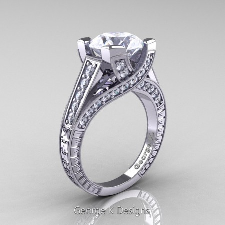 Classic-14K-White-Gold-3-Ct-White-Sapphire-Diamond-Engraved-Solitaire-Engagement-Ring-R364P-14KWGDWS-P