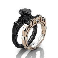 Caravaggio 14K Black and Rose Gold 1.25 Ct Princess Black Diamond Engagement Ring Wedding Band Set R623PS-14KBRGBD