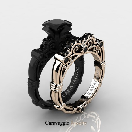 Black Diamond Wedding Ring.Caravaggio 14k Black And Rose Gold 1 25 Ct Princess Black Diamond Engagement Ring Wedding Band Set R623ps 14kbrgbd
