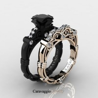 Caravaggio 14K Black and Rose Gold 1.25 Ct Princess Black and White Diamond Engagement Ring Wedding Band Set R623PS3-14KBRGDBD