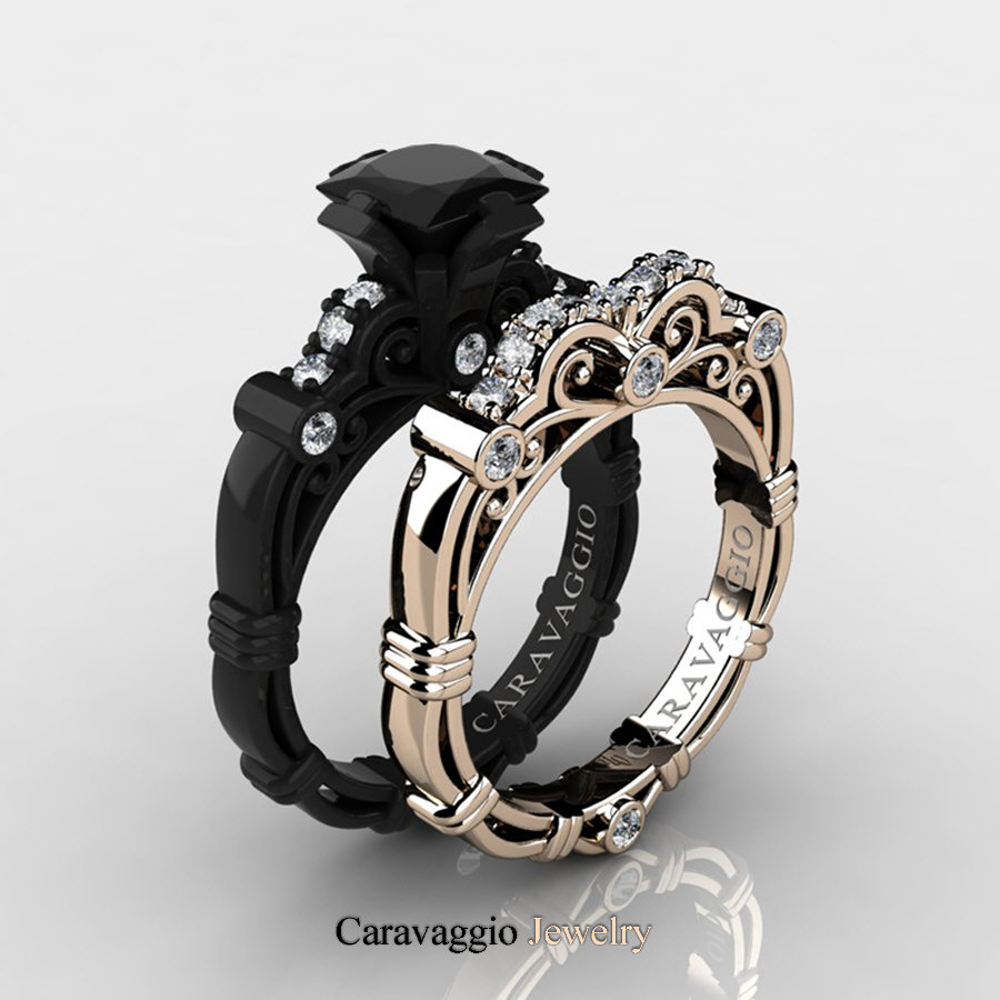 ct wedding ring set white engagement black rings diamond caravagio band and p art masters caravaggio gold carat product rose