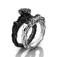 Art Masters Caravaggio 14K Black and White Gold 1.25 Ct Princess Black Diamond Engagement Ring Wedding Band Set R623PS-14KBWGBD