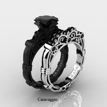 Caravagio-14K-Black-and-White-Gold-1-25-Carat-Princess-Black-Diamond-Engagement-Ring-Wedding-Band-Set-R623PS-14KBWGBD-P