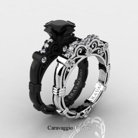 Art Masters Caravaggio 14K Black and White Gold 1.25 Ct Princess Black and White Diamond Engagement Ring Wedding Band Set R623PS3-14KBWGDBD