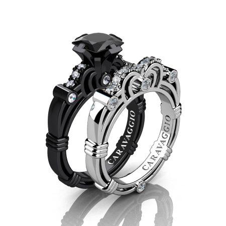 Caravagio-14K-Black-and-White-Gold-1-25-Carat-Princess-Black-and-White-Diamond-Engagement-Ring-Wedding-Band-Set-R623PS3-14KBWGDBD-P