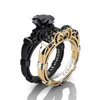 Caravaggio 14K Black and Yellow Gold 1.25 Ct Princess Black Diamond Engagement Ring Wedding Band Set R623PS-14KBYGBD