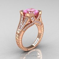 Classic 14K Rose Gold 3.0 Ct Princess Light Pink Sapphire Diamond Engraved Engagement Ring R367P-14KRGDLPS