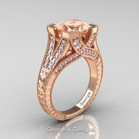 Classic 14K Rose Gold 3.0 Ct Princess Morganite Diamond Engraved Engagement Ring R367P-14KRGDMO