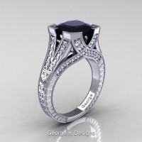 Classic 14K White Gold 3.0 Ct Princess Black and White Diamond Engraved Engagement Ring R367P-14KWGDBD
