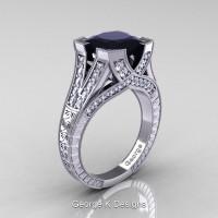 Classic 14K White Gold 3.0 Ct Princess Black and White Diamond Engraved Engagement Ring R367P-14KWGDBD