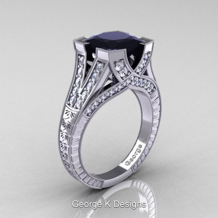 Classic-14K-White-Gold-3-Ct-Princess-Black-Diamond-Engraved-Solitaire-Engagement-Ring-R367P-14KWGDBD-P
