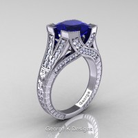 Classic 14K White Gold 3.0 Ct Princess Blue Sapphire Diamond Engraved Engagement Ring R367P-14KWGDBS
