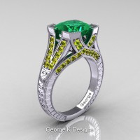 Classic 14K White Gold 3.0 Ct Princess Emerald Yellow Sapphire Engraved Engagement Ring R367P-14KWGYSEM