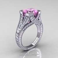 Classic 14K White Gold 3.0 Ct Princess Light Pink Sapphire Diamond Engraved Engagement Ring R367P-14KWGDLPS