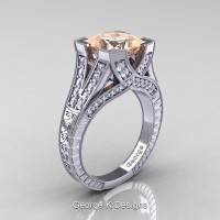 Classic 14K White Gold 3.0 Ct Princess Morganite Diamond Engraved Engagement Ring R367P-14KWGDMO
