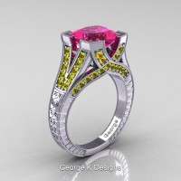 Classic 14K White Gold 3.0 Ct Princess Pink and Yellow Sapphire Engraved Engagement Ring R367P-14KWGYSPS