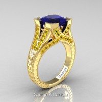 Classic 14K Yellow Gold 3.0 Ct Princess Blue and Yellow Sapphire Engraved Engagement Ring R367P-14KYGYSBS