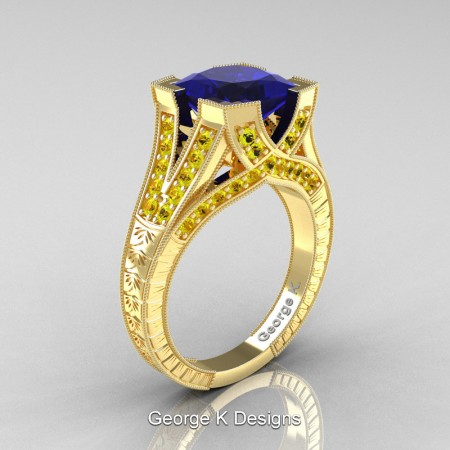 Classic-14K-Yellow-Gold-3-Ct-Princess-Blue-Yellow-Sapphire-Engraved-Solitaire-Engagement-Ring-R367P-14KYGYSBS-P