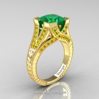 Classic 14K Yellow Gold 3.0 Ct Princess Emerald Yellow Sapphire Engraved Engagement Ring R367P-14KYGYSEM