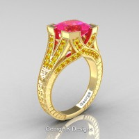 Classic 14K Yellow Gold 3.0 Ct Princess Pink and Yellow Sapphire Engraved Engagement Ring R367P-14KYGYSPS