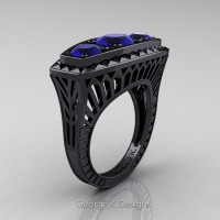 Art Deco 14K Black Gold Three Stone 2.0 Ct Blue Sapphire Engagement Ring R368-14KBGBS