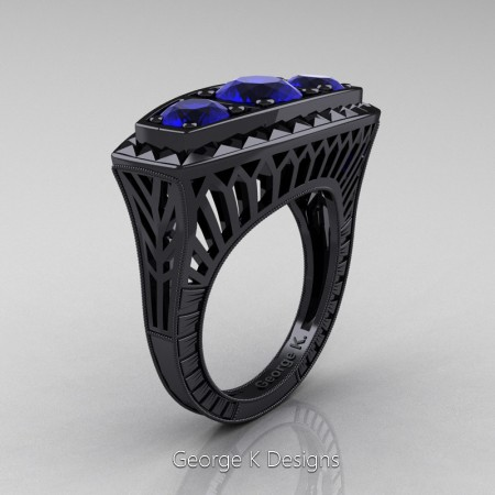Modern-Art-Deco-14K-Black-Gold-2-Ct-Three-Stone-Blue-Sapphire-Engraved-Engagement-Ring-R368-14KBGBS-P