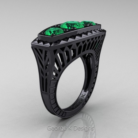 Modern-Art-Deco-14K-Black-Gold-2-Ct-Three-Stone-Emerald-Engraved-Engagement-Ring-R368-14KBGEM-P