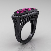 Art Deco 14K Black Gold Three Stone 2.0 Ct Pink Sapphire Engagement Ring R368-14KBGPS