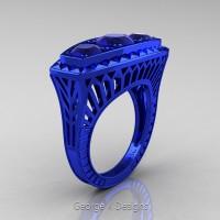 Art Deco 14K Blue Gold Three Stone 2.0 Ct Blue Sapphire Engagement Ring R368-14KBLGBS