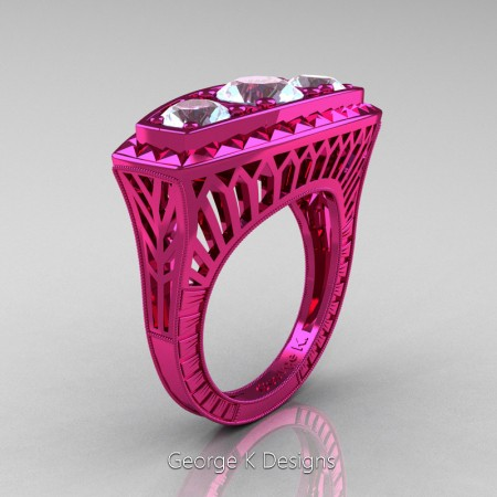 Modern-Art-Deco-14K-Fuchsia-Pink-Gold-2-Ct-Three-Stone-Aquamarine-Engraved-Engagement-Ring-R368-14KFPGAQ-P