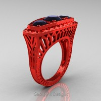 Art Deco 14K Red Gold Three Stone 2.0 Ct Black Diamond Engagement Ring R368-14KREDBD