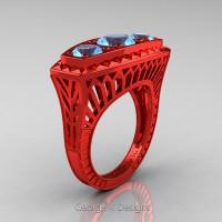 Art Deco 14K Red Gold Three Stone 2.0 Ct Blue Topaz Engagement Ring R368-14KREDBT