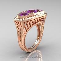 Art Deco 14K Rose Gold Three Stone 2.0 Ct Amethyst Engagement Ring R368-14KRGAM