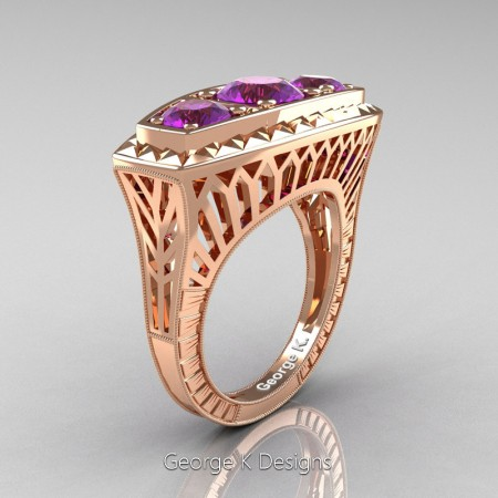 Modern-Art-Deco-14K-Rose-Gold-2-Ct-Three-Stone-Amethyst-Engraved-Engagement-Ring-R368-14KRGAM-P