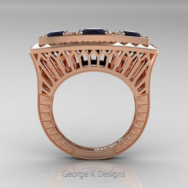 Art Deco Unique Diamond Wedding Ring 14k Two Tone Gold: Art Deco 14K Rose Gold Three Stone 2.0 Ct Black Diamond