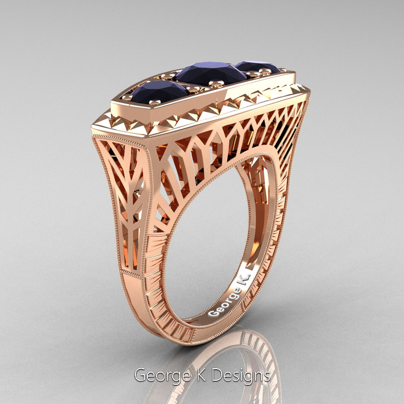 Art Deco 14K Rose Gold Three Stone 2 0 Ct Black Diamond Engagement Ring R368