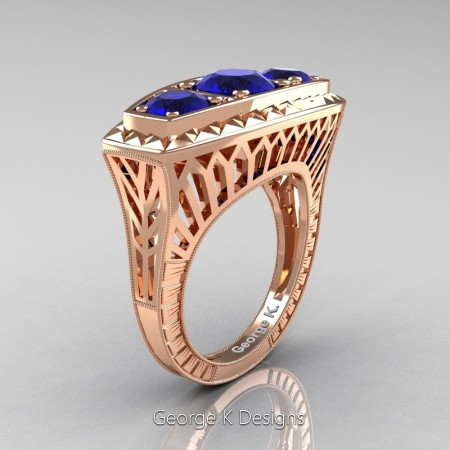 Modern-Art-Deco-14K-Rose-Gold-2-Ct-Three-Stone-Blue-Sapphire-Engraved-Engagement-Ring-R368-14KRGBS-P