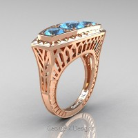 Art Deco 14K Rose Gold Three Stone 2.0 Ct Blue Topaz Engagement Ring R368-14KRGBT