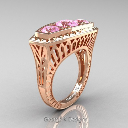 Modern-Art-Deco-14K-Rose-Gold-2-Ct-Three-Stone-Light-Pink-Sapphire-Engraved-Engagement-Ring-R368-14KRGLPS-P
