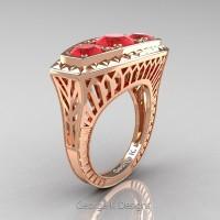 Art Deco 14K Rose Gold Three Stone 2.0 Ct Ruby Engagement Ring R368-14KRGR