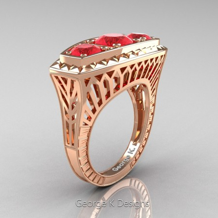 Modern-Art-Deco-14K-Rose-Gold-2-Ct-Three-Stone-Ruby-Engraved-Engagement-Ring-R368-14KRGR-P
