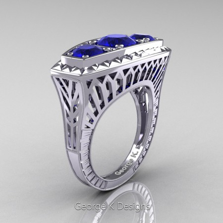 Modern-Art-Deco-14K-White-Gold-2-Ct-Three-Stone-Blue-Sapphire-Engraved-Engagement-Ring-R368-14KWGBS-P