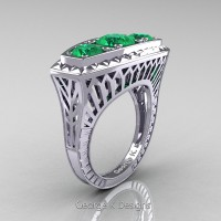 Art Deco 14K White Gold Three Stone 2.0 Ct Emerald Engagement Ring R368-14KWGEM