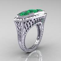 Art Deco 14K White Gold Three Stone 2.0 Ct Emerald Engagement Ring R368-14KWGEM