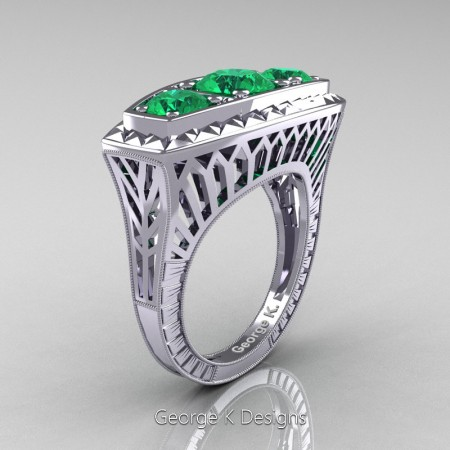 Modern-Art-Deco-14K-White-Gold-2-Ct-Three-Stone-Emerald-Engraved-Engagement-Ring-R368-14KWGEM-P