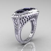 Art Deco 14K White Gold Three Stone 2.0 Ct Black Diamond Engagement Ring R368-14KWGBD