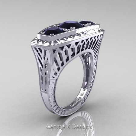 Modern-Art-Deco-14K-White-Gold-Three-Stone-Black-Diamond-Engagement-Ring-R368-14KWGBD-P