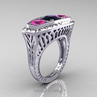 Art Deco 14K White Gold Three Stone Black Diamond Pink Sapphire Blazer Engagement Ring R368-14KWGPSBD
