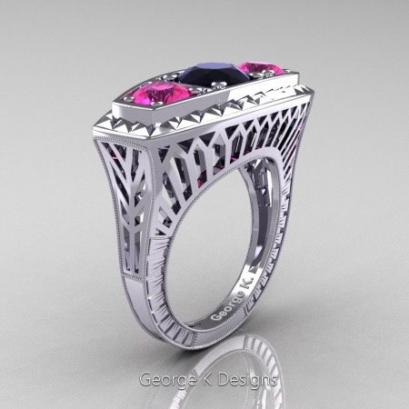 Modern-Art-Deco-14K-White-Gold-Three-Stone-Black-Diamond-Pink-Sapphire-Engagement-Ring-R368-14KWGPSBD-P