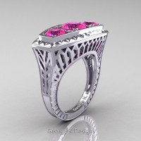 Art Deco 14K White Gold Three Stone 2.0 Ct Pink Sapphire Engagement Ring R368-14KWGPS